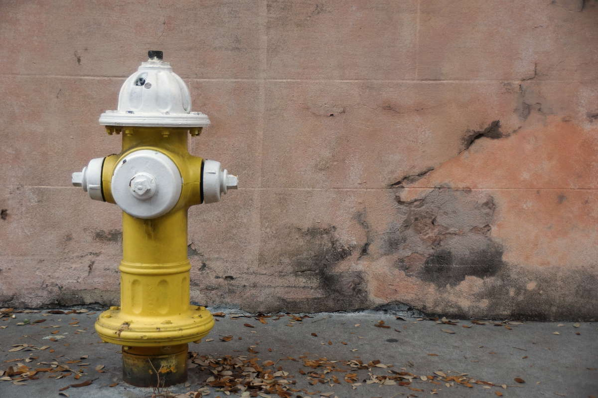 A fire hydrant before a stucco wall on Church St. in Charleston's French Quarter.